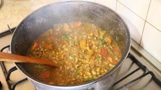 Nigerian food How to make beans and plantain porridge