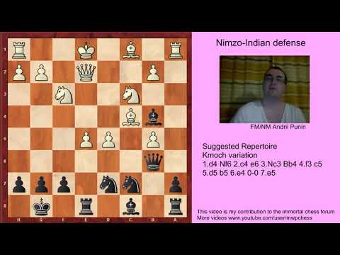 Chess - Nimzo-Indian Defense (for black) - 4.f3 c5 5.d5 b5 6.e4 0-0 7.e5