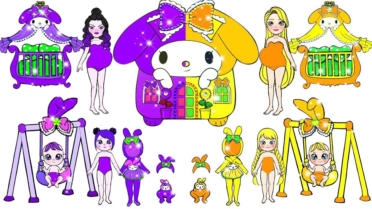 Paper Dolls Dress Up - Purple vs Orange Rapunzel Dresses Handmade Papercraft - Dolls Beauty #124