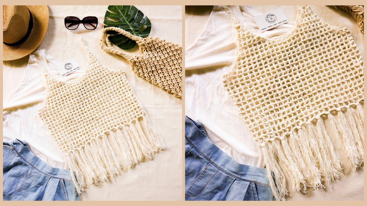 Crochet Croptop| Hướng dẫn móc áo Croptop 2 dây cổ tròn có gắn tua rua| Vyvascrochet