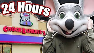 (REAL) 24 HOUR OVERNIGHT CHALLENGE in CHUCK E CHEESE // FIVE NIGHTS AT FREDDYS CHUCKY CHEESE