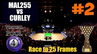 Virtual Pool 4 Snooker | Video #2 | Mal255 vs Curley (Race to 25 Frames)