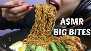 ASMR BIG BITES NO TALKING (Korean Fire Noodles + Black Bean Noodles) EATING SOUNDS   SAS-ASMR