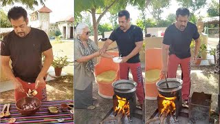 Salman Khan making Village Food For Entire Family Cooking Desi style outdoors at panvel farm