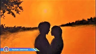 How to Draw scenery of Romantic Couple at Sunset | Drawing Natural Scenery sunset for beginners