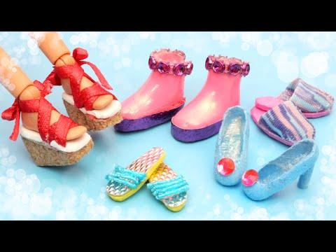 5 DIY Miniature Barbie Shoes - How to Make Doll Miniatures Tutorial