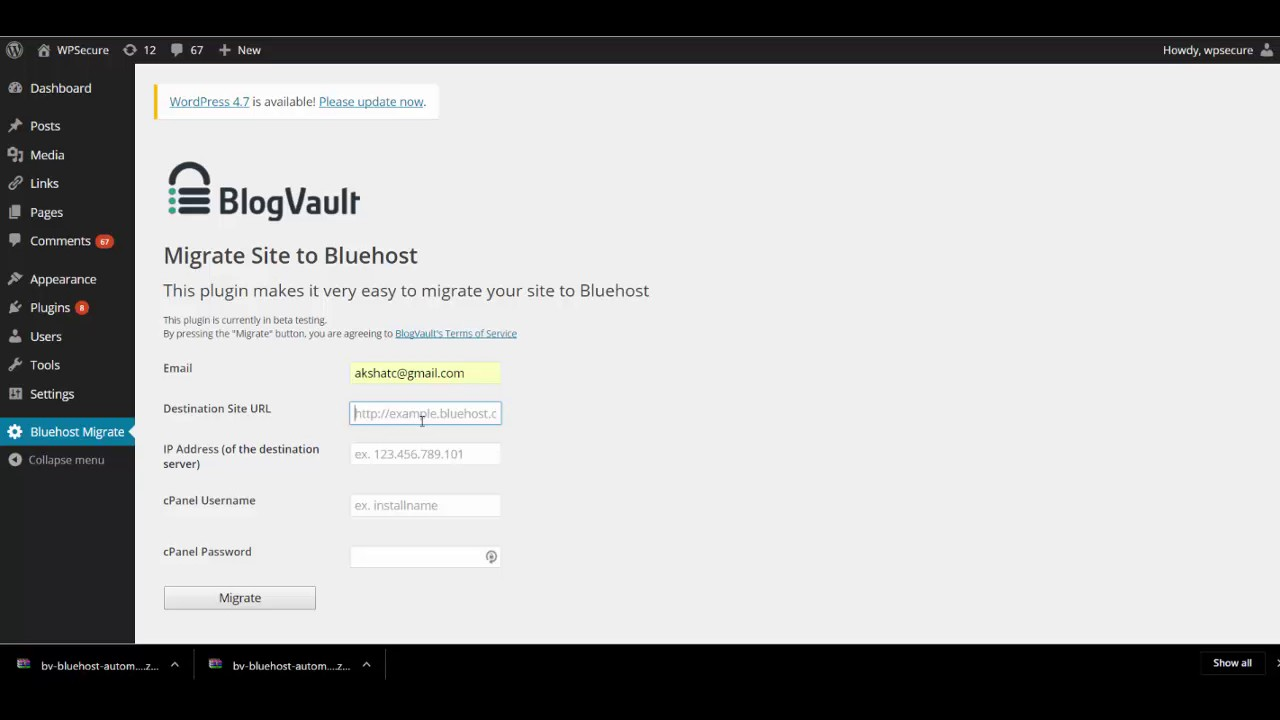 how to delete wordpress site in bluehost