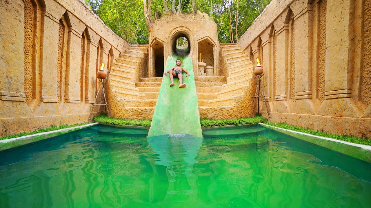 Best Building Underground Water Slide Swimming Pool and Temple Tunnel