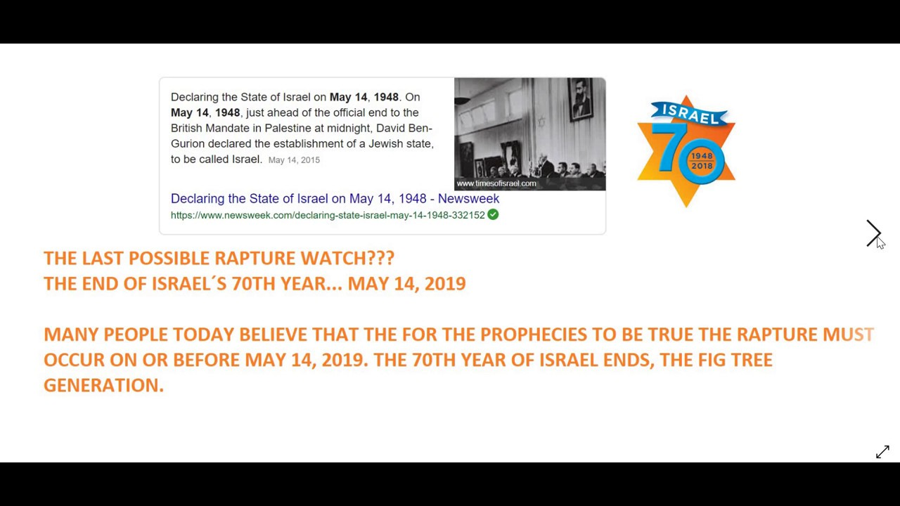 4 RAPTURE WATCHES BETWEEN NOW AND MAY 14, 2019