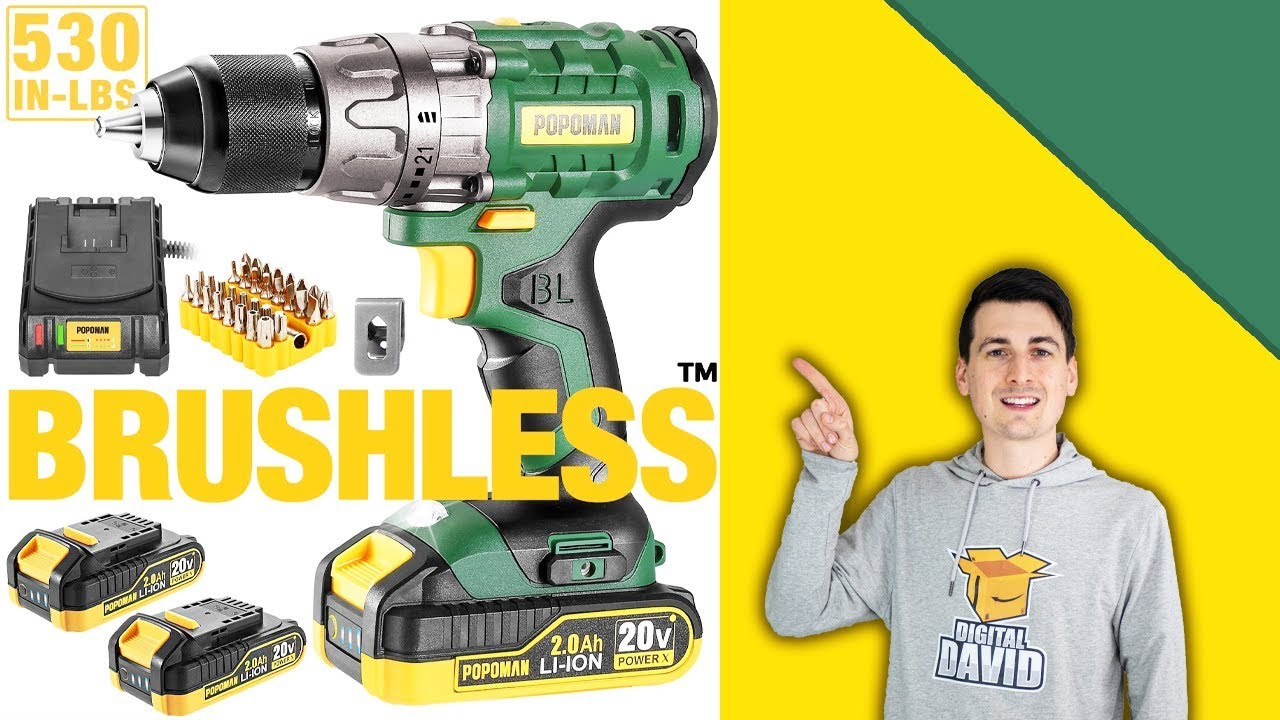 POPOMAN Cordless Drill Driver Review // 20V Brushless Drill Tool Review