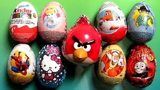 25 Surprise Eggs 2014 Angry Birds KINDER Phineas and Ferb Thomas Disney Planes Spiderman Ovetti
