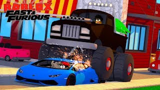 ROBLOX FAST AND THE FURIOUS - DONUT CRUSHES ROPOS NEW LAMBORGHINI IN HIS GIANT MONSTER TRUCK!!