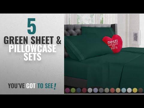 Top 10 Green Sheet & Pillowcase Sets [2018]: Queen Size Bed Sheets Set Hunter Green, Highest Quality