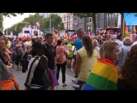 Revellers attend Berlin Gay Pride march
