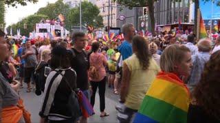 Revellers attend Berlin Gay Pride march