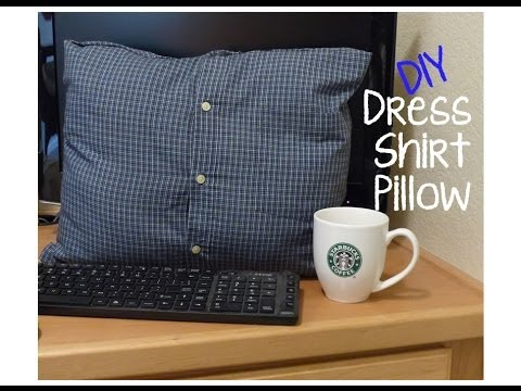 DIY No Sew Dress Shirt Pillow YouTube Awesome Button Up Shirt Pillow Covers
