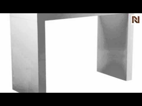 Sunpan Faro C Shape Bar Table Gloss White 50257 You