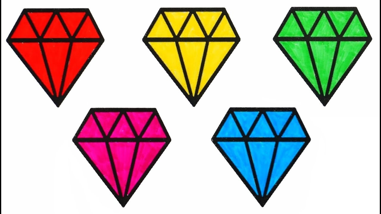 How To Draw Diamond | Coloring Diamonds And Learning Colors For Baby ...