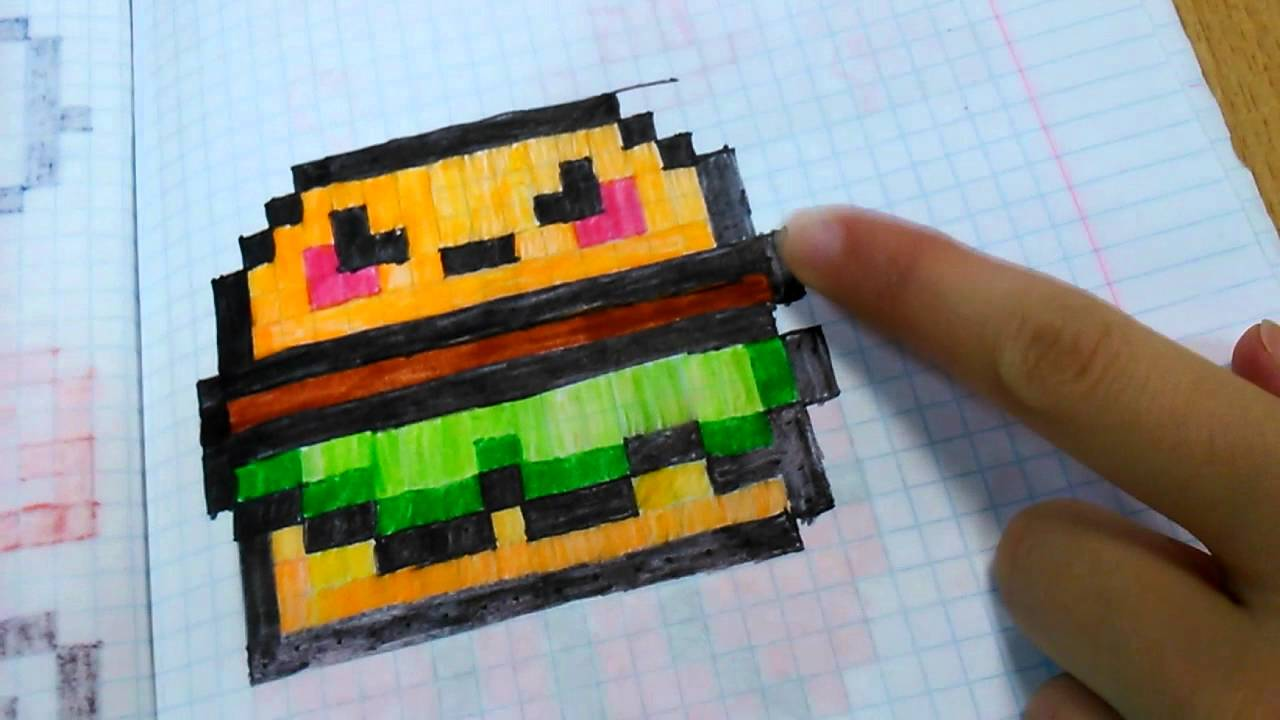 Рисуем по клеточкам (гамбургер) - YouTube