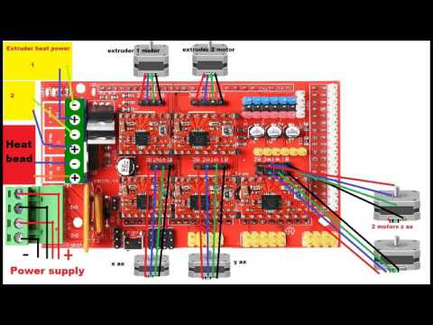 How to wire a 3d printer arduino RAMPS 1.4 A4988 stepper ... Ramps Wiring Schematic on