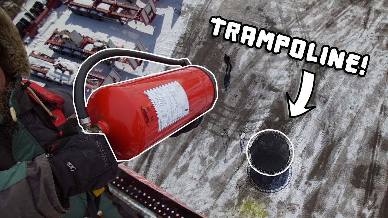 FIRE EXTINGUISHER VS TRAMPOLINE FROM 30 METERS!!
