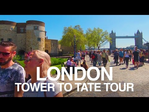 4K 60fps - London Southbank - Walk from Tower of London to the Tate Modern
