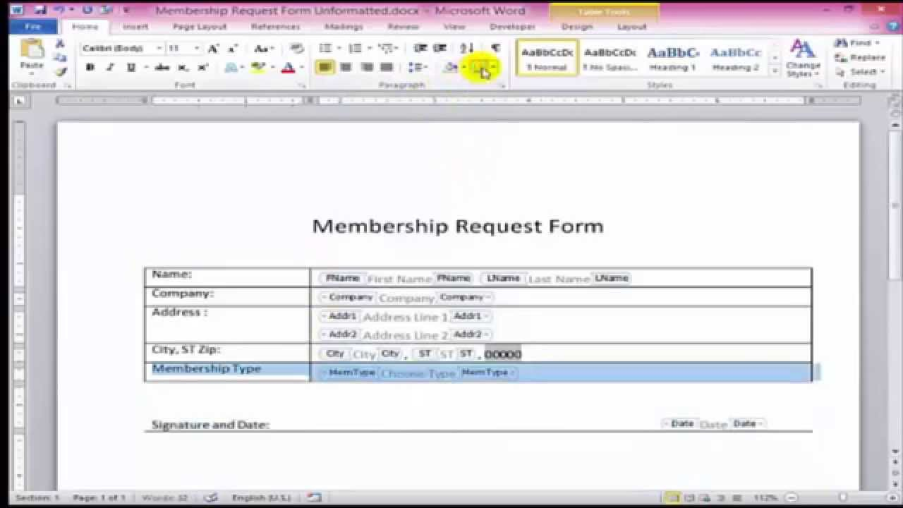 How to make Fillable Form in Microsoft Word