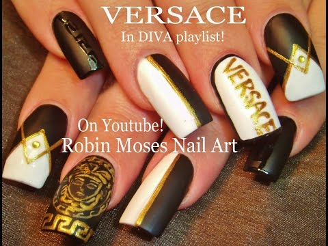 Versace Black and White Nail Design With Gold Accent Nails Tutorial