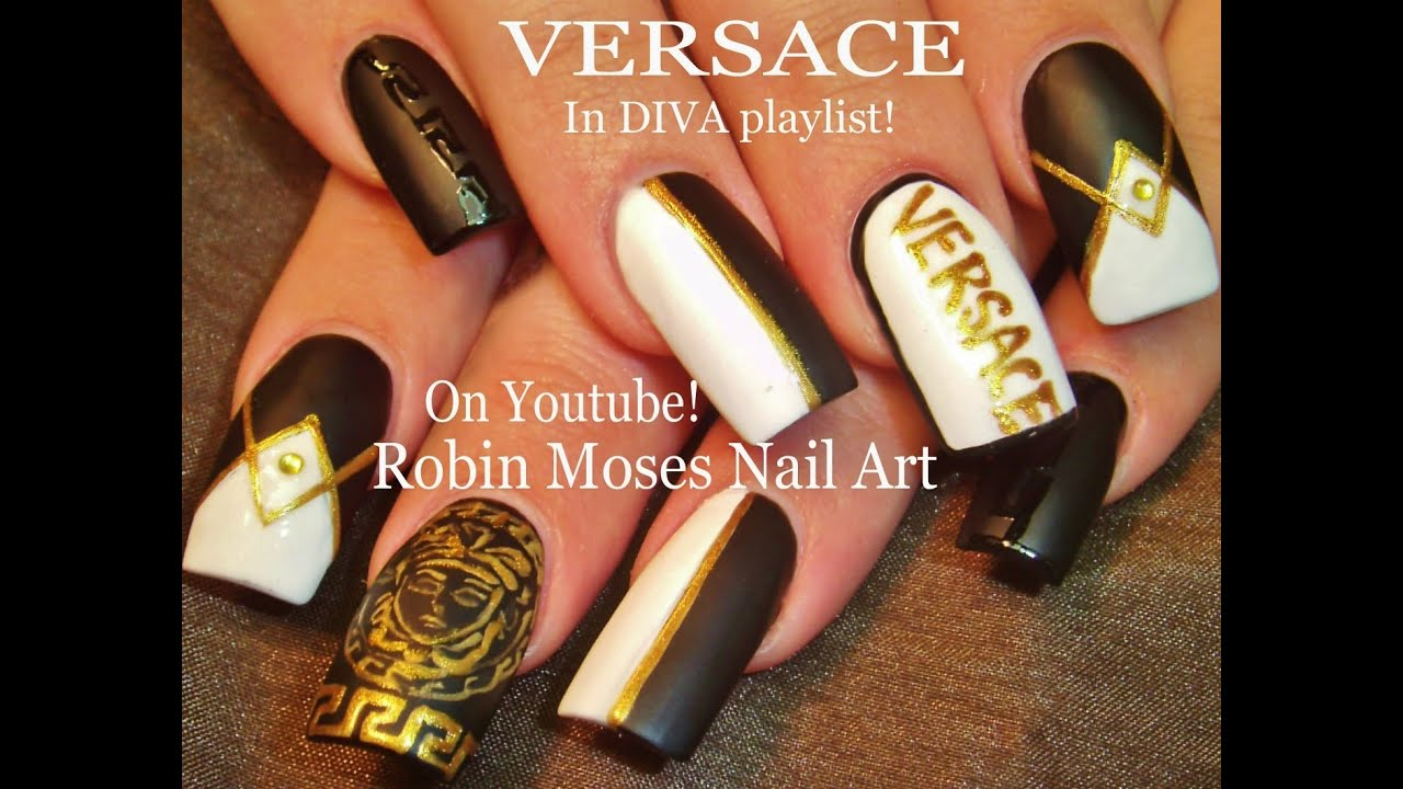 Versace Black and white nail design with Gold Accent Nails Tutorial ...