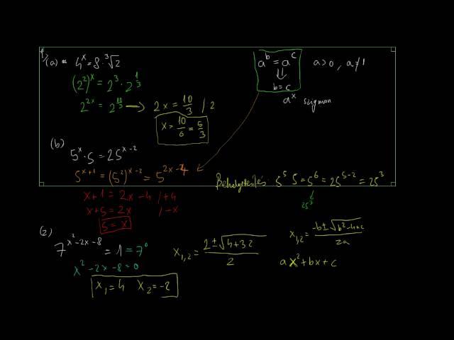Exponenciális egyenletek és egyenlőtlenségek 2