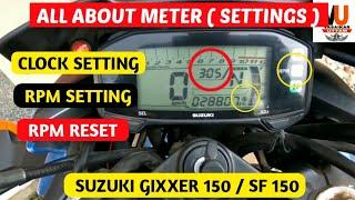 how to set Suzuki gixxer/Sf rpm Meter  |  rpm reset, suzuki gixxer clock setting in hindi