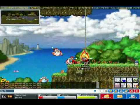 Maple Story PIg  Beach Leveling!! :)