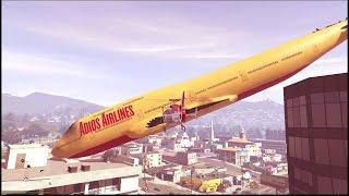 GTA 5 - Desafio para doidos : Faça um jumbão virar uma ponte entre dois prédios !