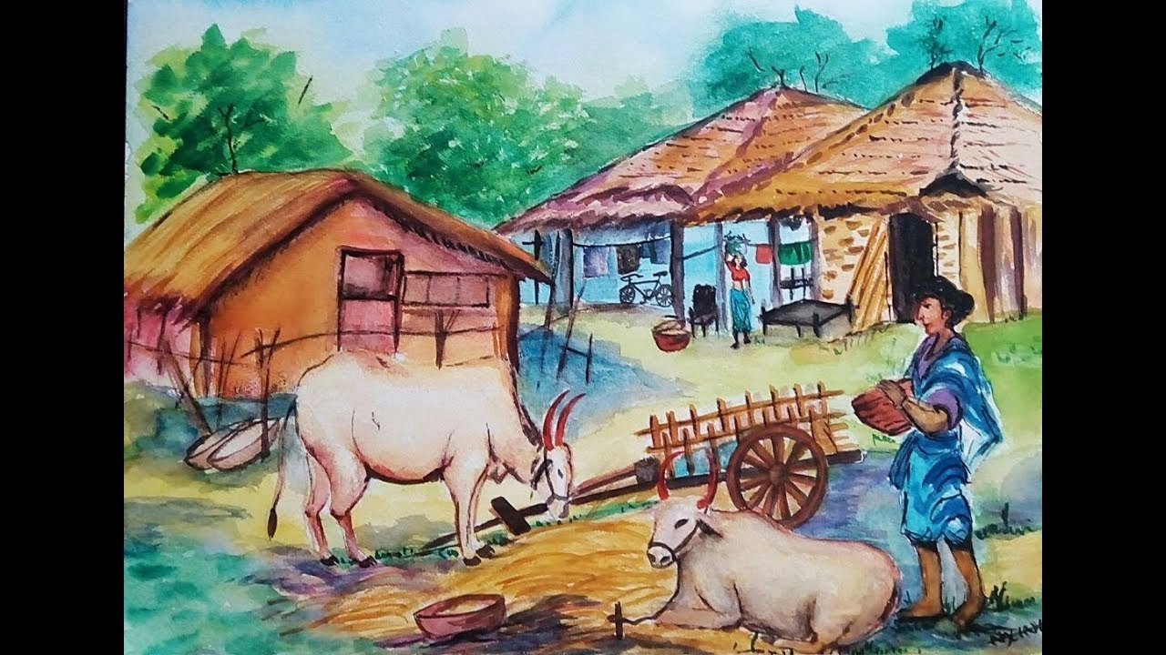 Watercolor painting 14 how to paint village scenery