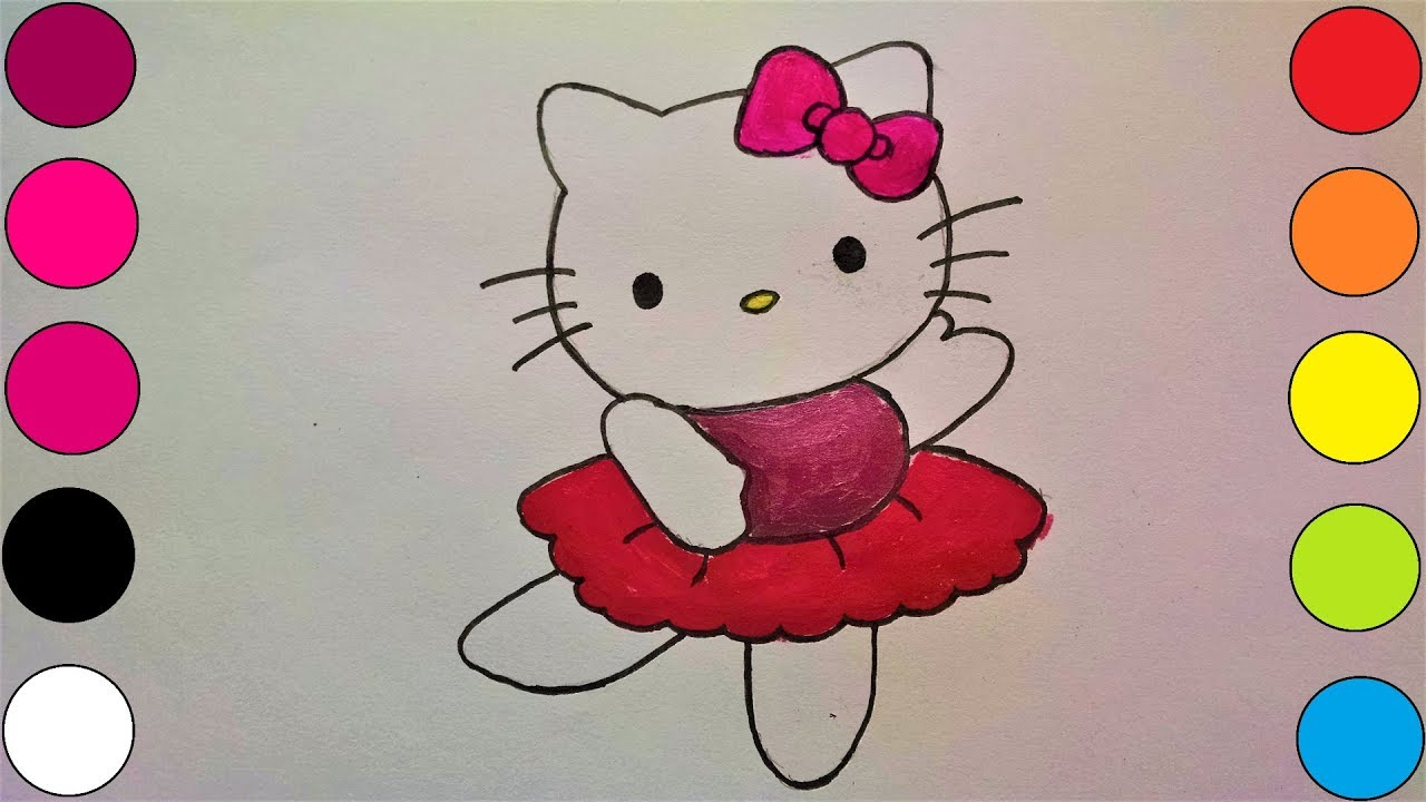 Kids Learn How To Draw And Colour Dancing Hello Kitty Youtube
