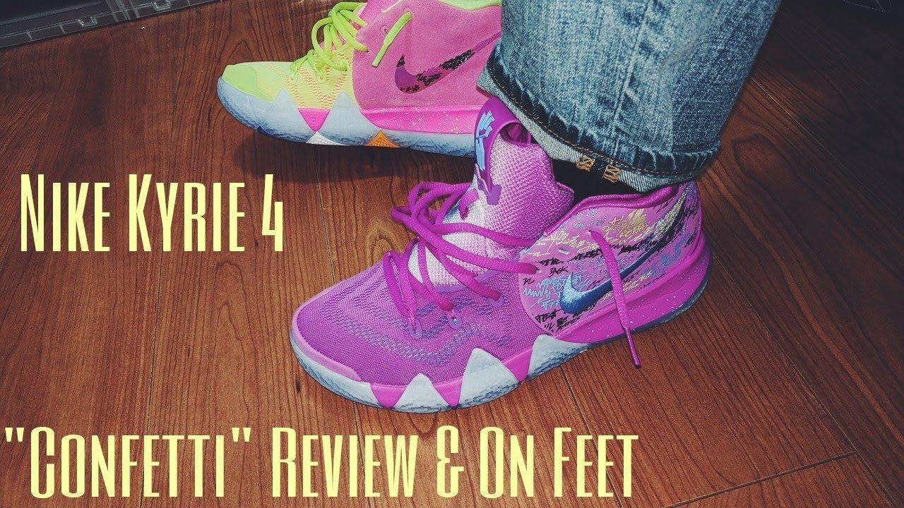 kyrie 4 confetti on feet