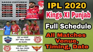 IPL 2020 Kings XI Punjab Full Schedule All Matches Venue, Timing, Date