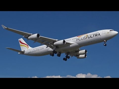 [FullHD] *RARE* Plus Ultra Airbus A340-300 landing & takeoff at Geneva/GVA/LSGG