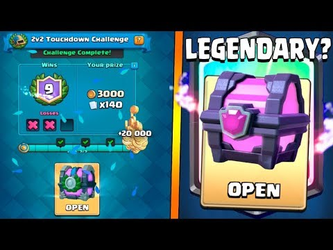 9X WINS 2V2 TOUCHDOWN CHALLENGE :: Clash Royale :: WILL THIS MAGICAL CHEST DROP LEGENDARY?