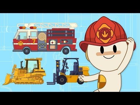 Thumbnail: Roar, Hum, Purr! Toy Firetruck & Tractors at Finley's Factory | Cartoons for Kids