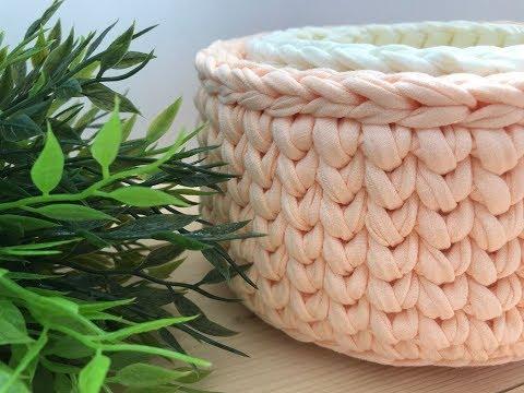 Вязание корзинок из трикотажной пряжи крючком схемы