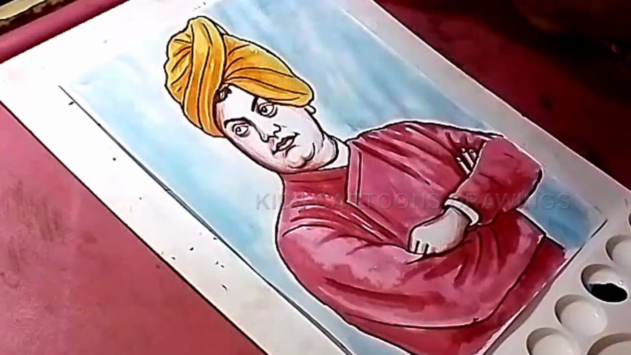 How To Draw Swami Vivekananda Drawing For Kids Youtube