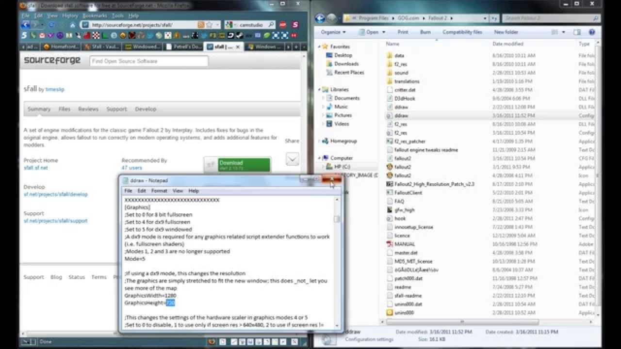 Fallout 2 windowed mode Windows 7 w/ sfall