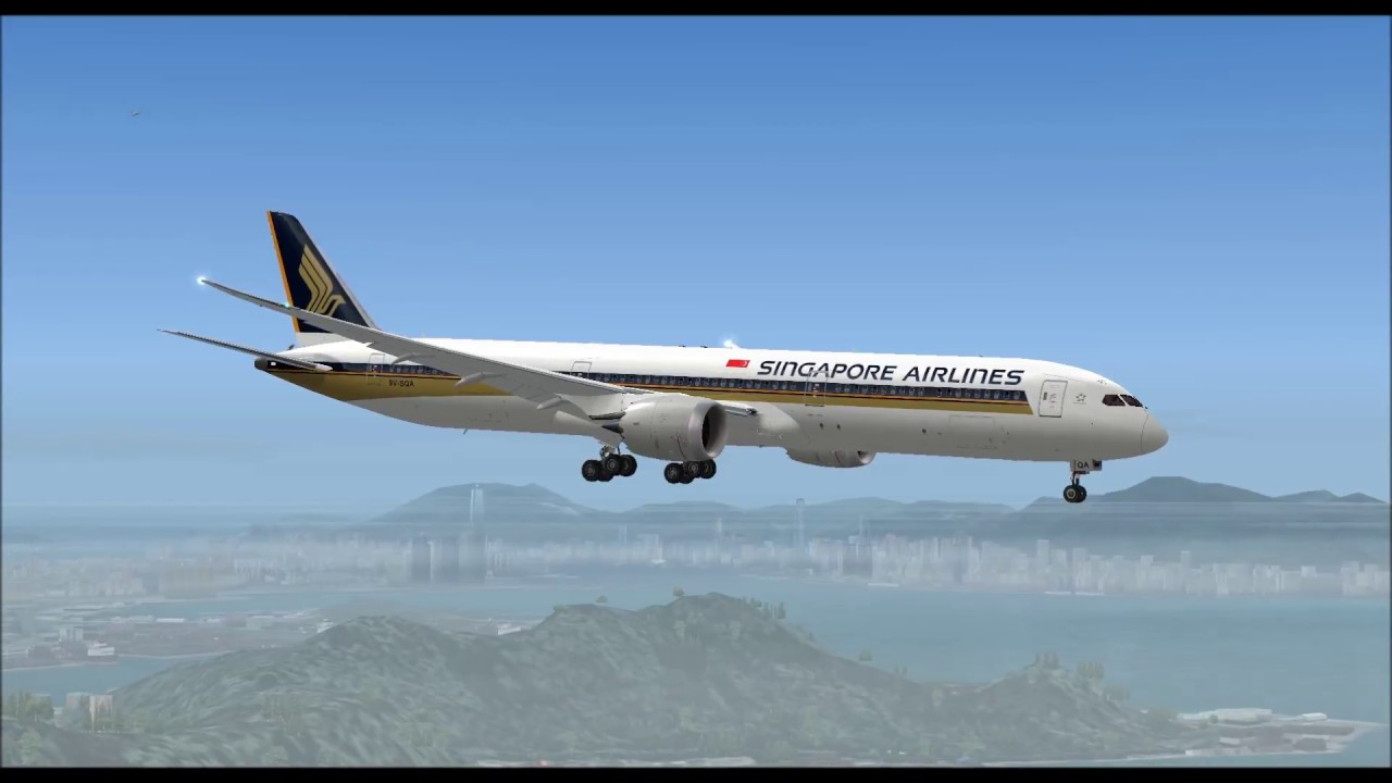 Boeing 787 10 singapore airlines landing at hong kong intl airport boeing 787 10 singapore airlines landing at hong kong intl airport fs9 hd sciox Images