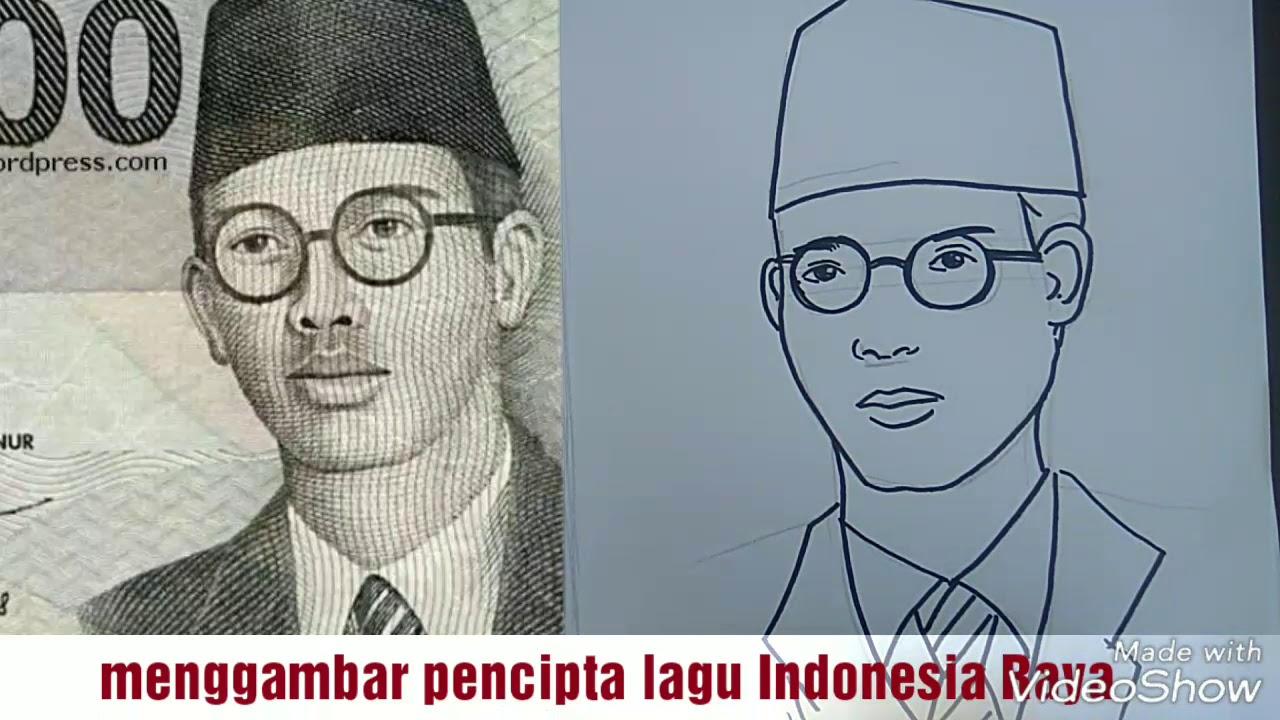 Menggambar Wajah WR SOEPRATMAN Pencipta Lagu Indonesia Raya