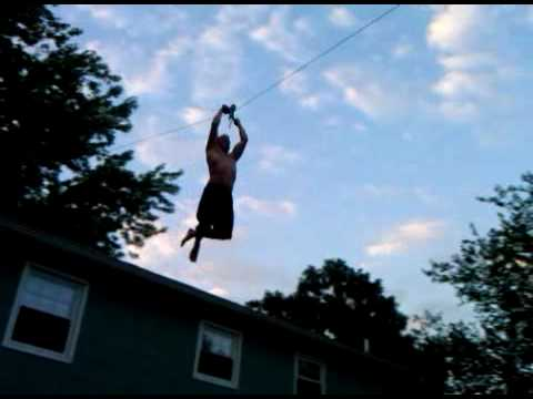 Backyard Homemade Zipline Back Flip Into Pool