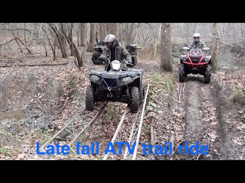 Late fall ATV trail ride, mud, steep hill climbs & sketchy bridge crossing