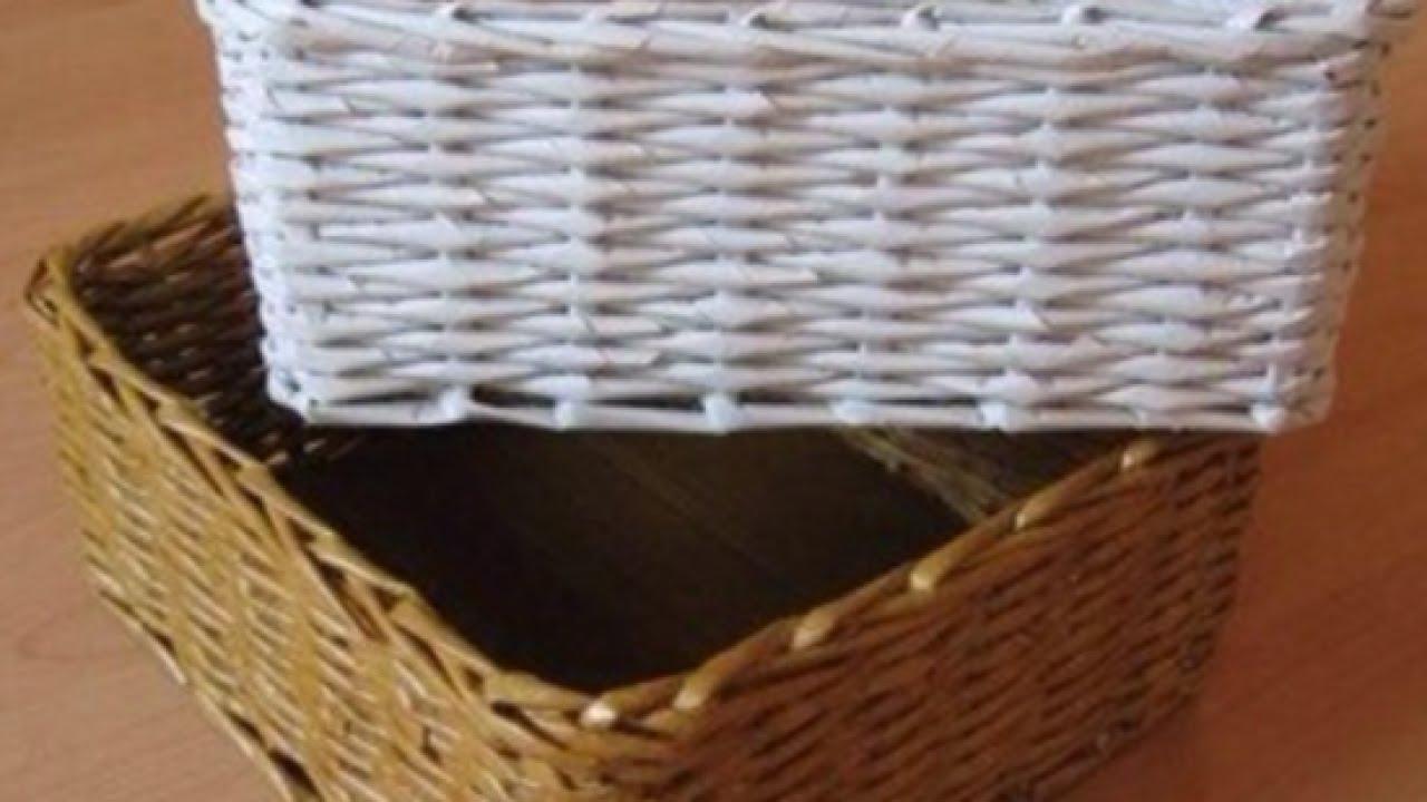 A simple basket of newspaper tubes 3