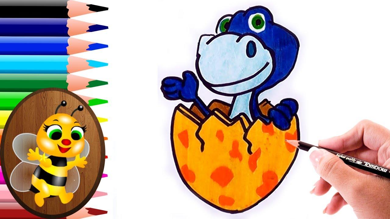 Dibujando Y Coloreando Dinosaurio Saliendo Del Huevo Dibujos Para