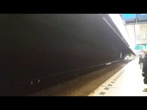 NS Intercity train arrives to Amsterdam Schiphol station.